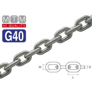 Calibrated Hot-dip Galvanized Steel chain for windlasses G40 Grade 7mm x 30mt