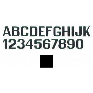 black letters and numbers 250 mm letter k